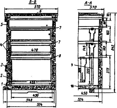 Схема двенадцатирамочного улья У-1: